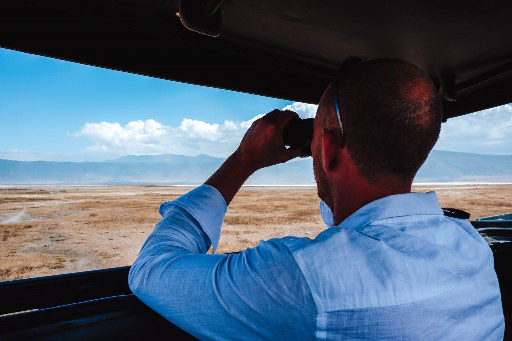 Binoculars Ngorongoro Crater Tanzania Africa